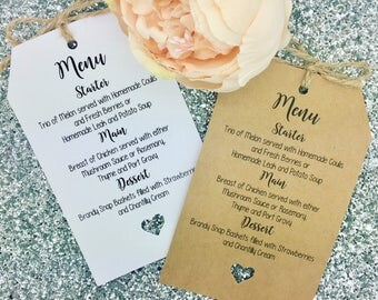 Wedding MENU Card / Tag Favour, Guest Label Kraft/ Napkin Ring