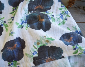 navy floral swaddle blanket, muslin blueberry floral baby swaddle, organic swaddle blanket, blue flower swaddle
