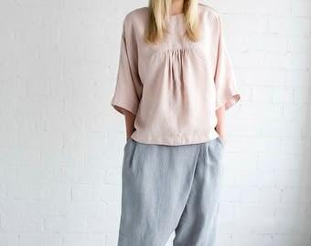 Linen Pants Motumo – 17K1 / Handmade loose linen pants / Washed linen pants
