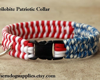 Paracord Dog Collar Patriotic red, white, blue american flag, 3 color trilobite Southern Dog Supplies dogs puppies pets animals