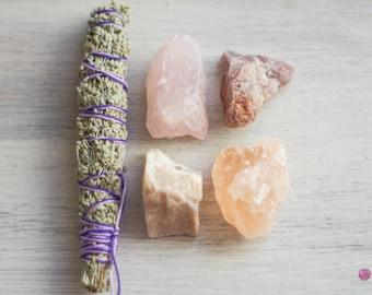 Love Gemstone Set with Sage - Healing Gemstones - Rough Stones - Love Stones - Sage Bundle - Meditation Stones - Zen - Loose Stones