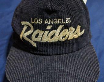 vintage 90s los angeles raiders corduroy strapback cap hat eazy e rare!!