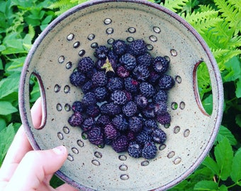 Berry Bowl, Bowls For Berries, Ceramic Berry Bowl, Colander, Strainer, Handmade by RuthiesPottery