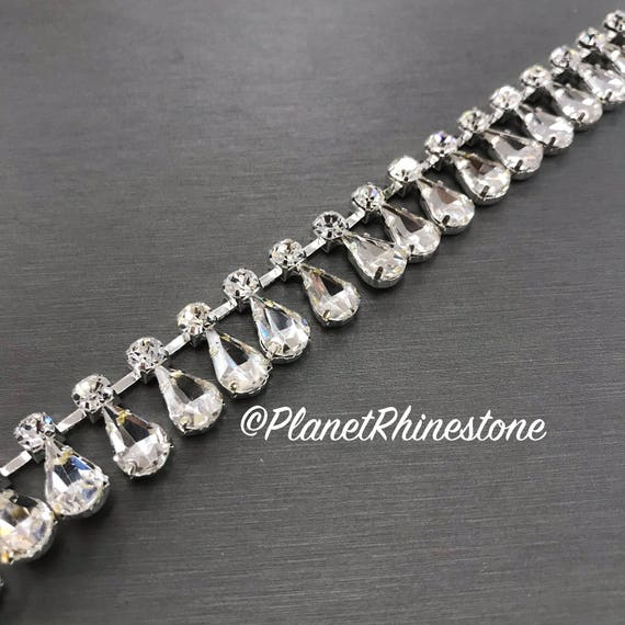 Silver Tear Drop Crystal Trim  #T-D