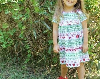 Red Reindeer Dress- christmas dress, holiday dress, winter outfit, baby dress, toddler dress, girl dress, reindeer dress