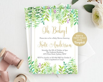 Greenery Baby Shower Invite, Baby Sower, Shower Invitation, Gender Neutral, Printable Invitation, Greenery Invitation, INSTANT DOWNLOAD