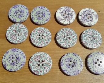 Paisley buttons, 2 hole buttons, scrapbooking buttons, lot buttons, wooden buttons, scrapbook