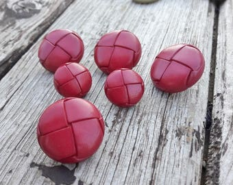 Vintage French buttons, 6button set, blazer buttons, smart buttons, cardigan buttons, red colour buttons, rouge boutons