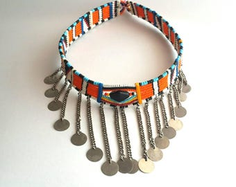 Multicolor bead choker, masai beads necklace, African jewelry