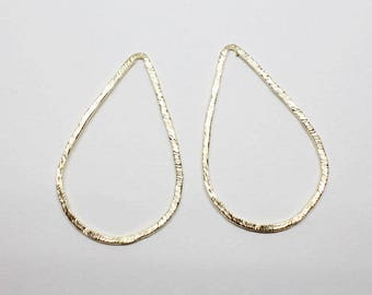 P0651-1/Anti-Tarnished Matte Gold Plating Over Pewter/Angled Teardrop Pendant Connector Extra Large/27x43mm/4pcs