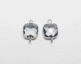 G000112C/Charcoal /Rhodium plated over brass/Tooth Framed square faceted glass connector/9mm x 13.4mm/2pcs