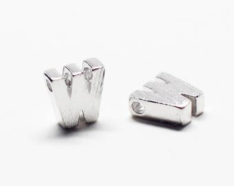 P0721/Anti-Tarnished Rhodium Plating Over Brass /Brushed Mini Alphabet Charm/4.8x6.5mm/2pcs