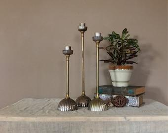 Set of Tall Vintage Brass Candlesticks / Brass Candle Sticks / Brass Candle Holders / Wedding Candlesticks / Brass Candleholders