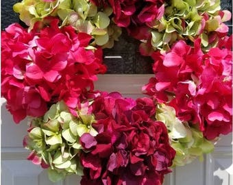 ON SALE Hydrangea wreath, summer wreath, floral wreath, spring flower wreath, pink hydrangea