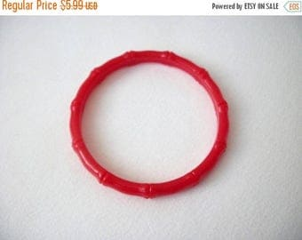 ON SALE Retro Red Plastic Bamboo Larger Wrist Bangle 71317