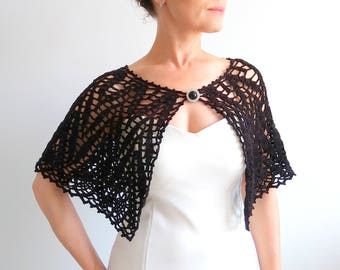 Black capelet, crochet wrap, wedding cape, lacy poncho, bridal stole, wedding wrap, gift for her, fast shipping, ready to ship