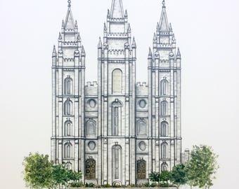 Salt Lake City LDS Temple Print
