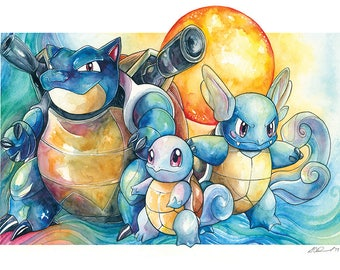 Pokemon Print ~ The Squirtle Family ~ Squirtle, Wartortle and Blastoise
