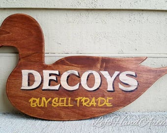 Antique Wood Decoy Trade Sign! Free handed! Buy Sell Trade. Vintage. Hunting. Huntsman. Hunter. Duck. Ducks. Pintail. Country. Farmhouse.