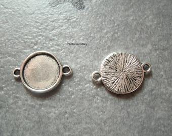 (SCB3) 1 medium ribbed silver connector ring 12mm cabochon