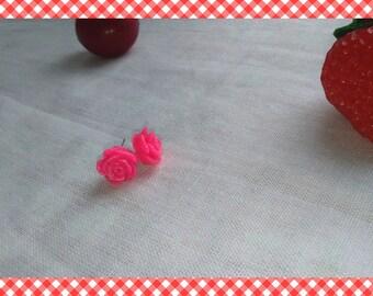 A pair of earrings rose pink glitter resin