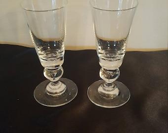 2 Steuben  teardrop trumpet wine goblets