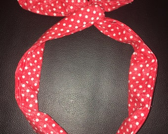 Red Wired Headband with White Dots