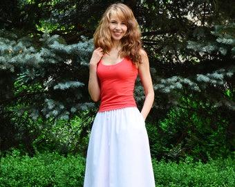 White midi skirt, White cotton skirt with pockets, White cotton skirt, Elastic waist skirt, Cotton midi skirt, White skirt, skirt  pockets