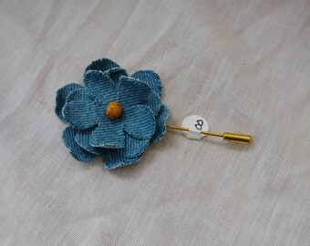 Denim rose lapel pin
