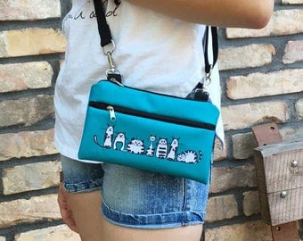 Teal Waterproof Hipster Fanny Pack, Mini Vegan Printed Bum Bag, Utility crossbody bag, Comfortable zippered purse, birthday gift for friends