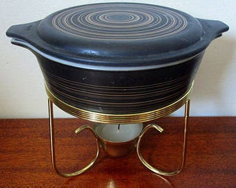 Vintage Pyrex Terra Black and Gold Striped Style 471 One Pint Casserole with Candle Warmer