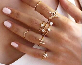 Statement Ring, Leaf Ring, Gold Ring, Dainty Ring, Ring, Stacking Ring, Minimalist Ring, Midi Ring, Gold Stacking Ring