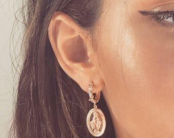 Cross Earrings, Mary Earrings Gold, Mary Medallion Hoop Earrings, Cross Earrings, Cross Earring, Gold Cross Earrings, Mary Hoop Earrings