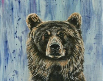 Bear art, bear painting, bear wall art, nursery painting, bear decor,wild animal art, original bear painting