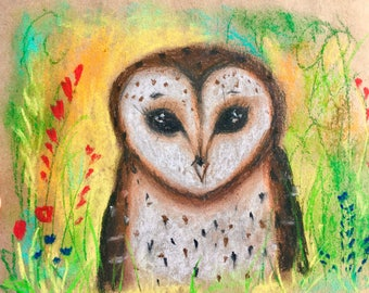 SALE Owl soft pastel drawing