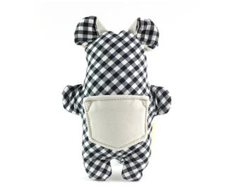 Small dog treat toy // stuffed Pocket Critter toy with treat pocket in black and white gingham with beige // gifts for dog lovers