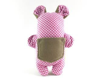 Small dog treat toy // stuffed Pocket Critter toy with treat pocket in pink and white gingham with beige // gifts for dog lovers