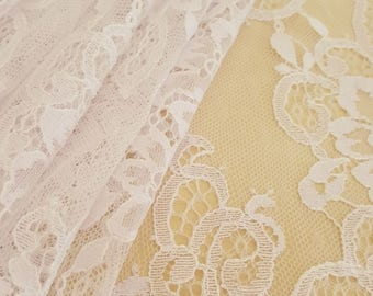 White with lilac shade Lace fabric with beads, Wedding lace, Bridal lace, Spanish style, Chantilly Lace Fabric, B00210