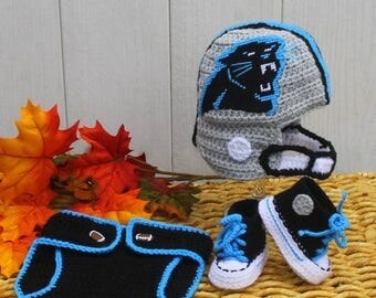 Baby football hat and shoes, Newborn FOOTBALL hat, Baby shoes, Carolina PANTHERS Inspired (Handmade by me and not affiliated with the NFL)