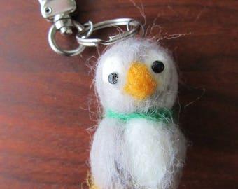 Penguin keychain, Needle felt keychain, naaldvilten pinguin,porte-clé pingouin,montessori penguin,avaimenperä pinguin, Schlüsselbund Pinguin