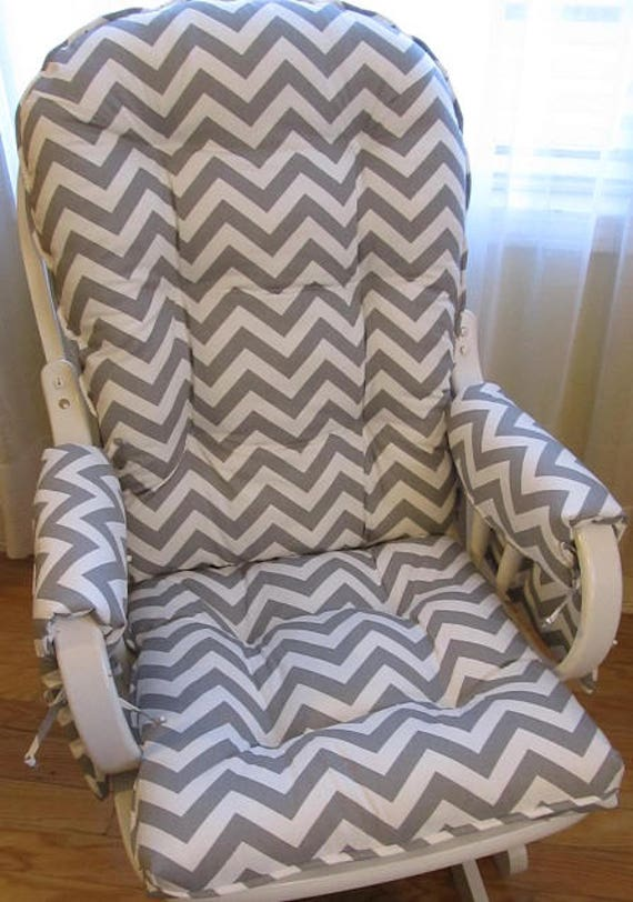 Glider Or Rocking Chair Cushions Set With Armcovers In Grey