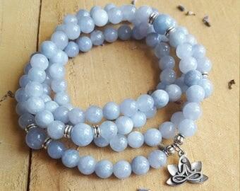 Aquamarine Mala 108 Mala Necklace Mala Wrap Bracelet Lotus Flower Meditation Tool Mala Prayer Beads Meditation Beads 108 Beaded Necklace