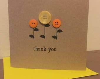 Flower Button Thank You Card Handmade
