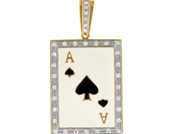10K Gold Ace of Spades Pendant with Diamonds