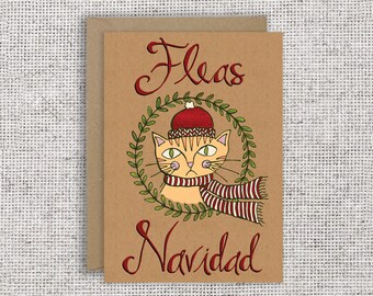 Fleas Navidad Christmas Card | Funny Christmas Card for Cat Lovers, Spanish Holiday Card, Feliz Navidad Greeting Card