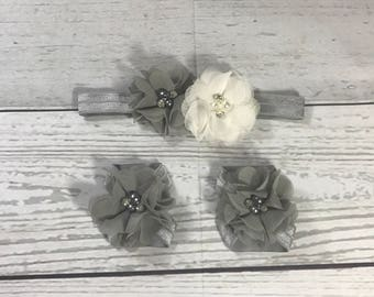 Gray and White Chiffon / Baby Headband / Barefoot Sandals / Toddler / Infant / Baby Bows / Girls Hair Bows / Headbands for Babies / Flowers