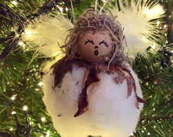 Cotton Ball Angel Ornament