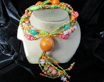 Vintage Long Chunky Multi Stranded Bright Colored Wooden Beaded Tassle Necklace