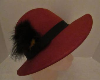 Vintage Geo W. Bollman Rust   Doeskin - Felt - 100% Wool Hat with a Black Feather. Made in USA!