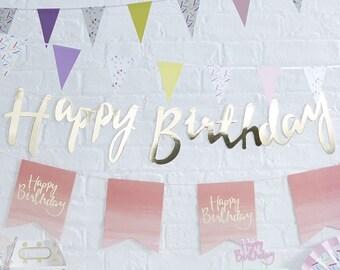Gold Happy Birthday Bunting - Happy Birthday Gold Banner - Birthday Gold Decoration - Birthday Party Bunting -  Birthday Garland - Flags